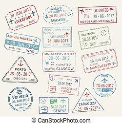 Vector icons of world travel city passport stamps - Passport...