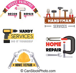 House repair vector icons of handyman work tools