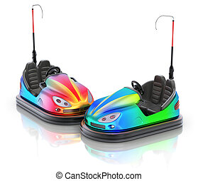 Pair of colorful electric bumper car over white reflective...