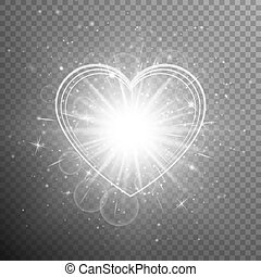 Silver heart with light effects - Christmas background with...