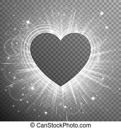 Silver background with hearts - Flare background with...