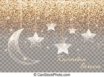 Ramadan kareem arabic art - Luminous background with light...