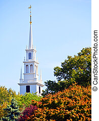 Church spire - White new england style colonial church spire...
