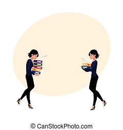 Young businesswoman carrying document folders, normal and heavy workload concept