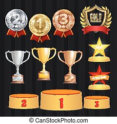 Award Trophies Vector Set. Achievement For 1st, 2nd, 3rd...
