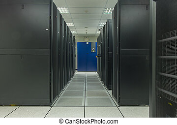 row of rack server in data center