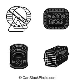 Container for carrying animals and other attributes of the zoo store. Pet shop set collection icons in black style raster,bitmap symbol stock illustration web.