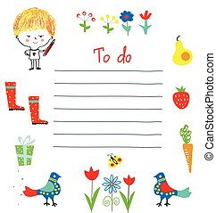Planner or to do list for the kids with funny design