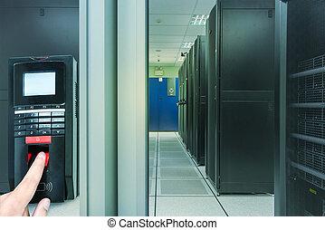 stanza, scansione,  server, dito, entrata, sicurezza