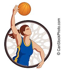 basketball player female, shooting basketball with...