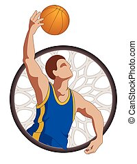 basketball player male, shooting basketball with basketball...