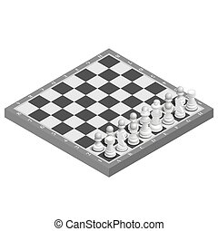 Chessboard with photorealistic pieces isometric, vector illustration.