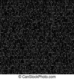 Code - Random symbols encoded data screen. Vector black...