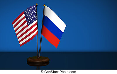 USA And Russia Desk Flags