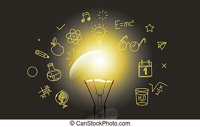 Bright lightbulb with media doodle icons