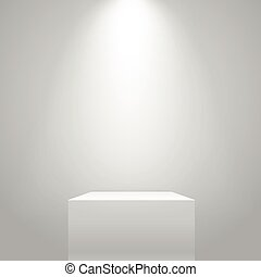 White illuminated stand on the wall. Vector mockup