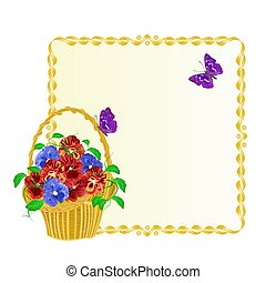 Frame with Pansies spring flowers in a basket with butterfly vintage vector.eps