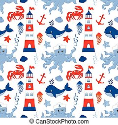 Vector Seamless Pattern with Ship, Lighthouse, Whale, Anchor, Crab, Octopus. Nautical Seamless Pattern Vector Illustration.