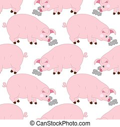 Vector Seamless Pattern with Cute Pigs. Vector Baby Pig. Pig Seamless Pattern Vector Illustration.