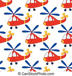 Vector Seamless Pattern with Cartoon Helicopter. Vector Boy's Toy Helicopter. Helicopter Seamless Pattern Vector Illustration.