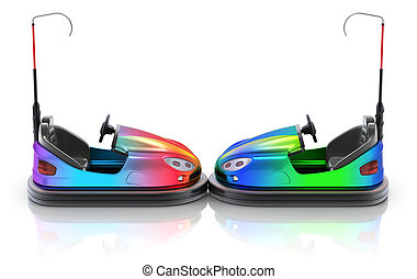 Side view of colorful electric bumper car over white...
