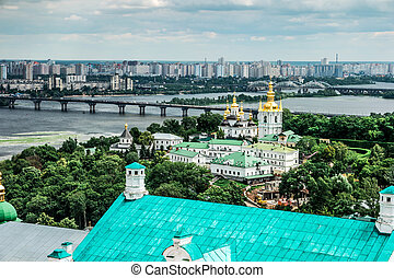 view of Dnipro and Kyiv-Pechersk Lavra - amazing view of...