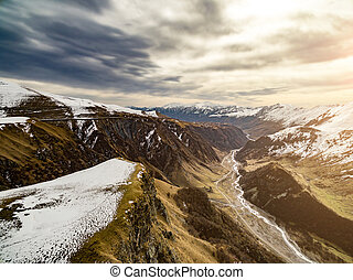 Snow mountains landscape in Georgia - aerial view