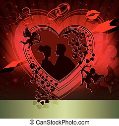 Red design with silhouette of heart