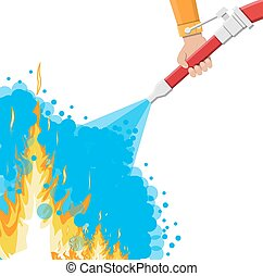 Water hose in hand to extinguish the fire. Fire equipment....