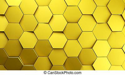 gold displaces hexagons background.3d illustration render.