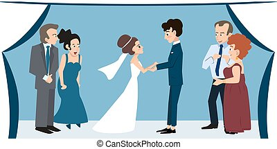 young couple with parents under chuppah at wedding ceremony...