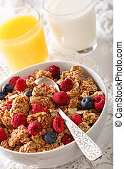 Multigrain granola with dried raspberries, nuts and...