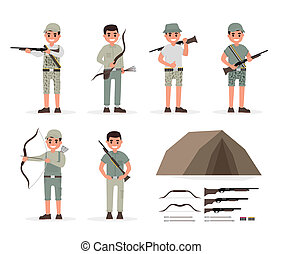 Hunter, huntsman, gamekeeper, forester and archer elements...