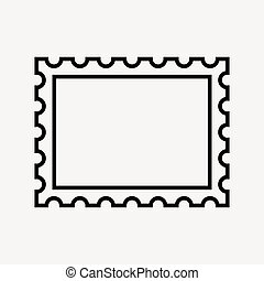 postage stamp icon, on white background. vector illustration