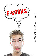 Young man thinks about ebooks