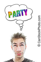 Young man plans a party - Young white Caucasian male adult...