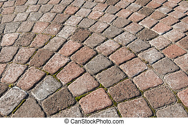 Red Cobblestone Curve - A red cobblestone curve with square...