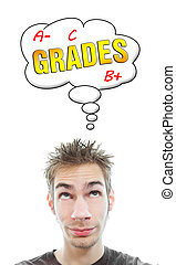 Young man thinks about grades