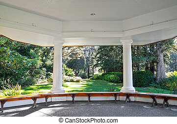 Gazebo - A large gazebo with study pillars supporting it on...