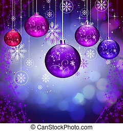 Abstract background with Christmas tree balls and colored...
