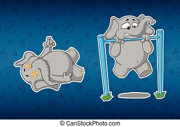 Stickers elephants. Turnstile to pull-up. It's hard for him....