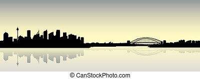 Sydney Skyline Silhouette - Skyline silhouette of the city...