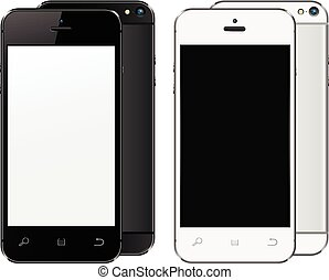 Realistic mobile phones with blank screen isolated on white background.