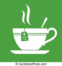 Green tea icon - Green tea cup flat vector icon