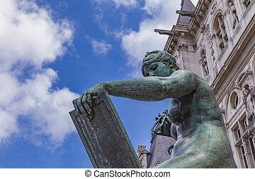Sculpture La Science by Hotel de Ville (City Hall) in Paris...
