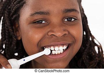 刷, 女孩,  African, 她, 牙齒
