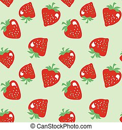 classic strawberries seamless pattern on pale green background. red ripe berries retro style repeatable motif for surface design