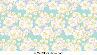 decorative sakura branch. floral seamless pattern in summer tender colors. Repeatable motif for surface design, background, card, header, web and print projects.