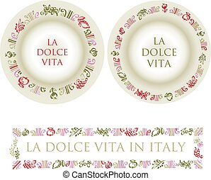 hand drawn italian food elements for restaurant menu. tomato, olive, floral, grape, lemon vector sketch in round plate frame
