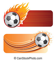 soccer with flames